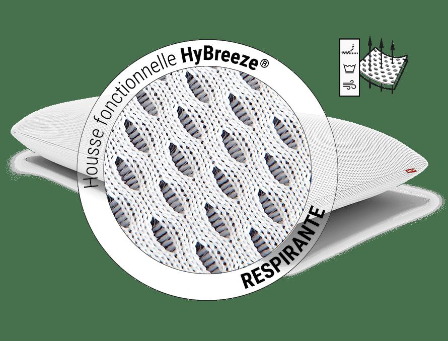 Oreillers anatomiques Plus BODYGUARD, vue détaillée de la housse fonctionnelle HyBreeze : Le tissu d'espacement 3D élastique fournit des espaces d'air pour la régulation du climat du sommeil. A côté, il se trouve : Couverture fonctionnelle HyBreeze - resp