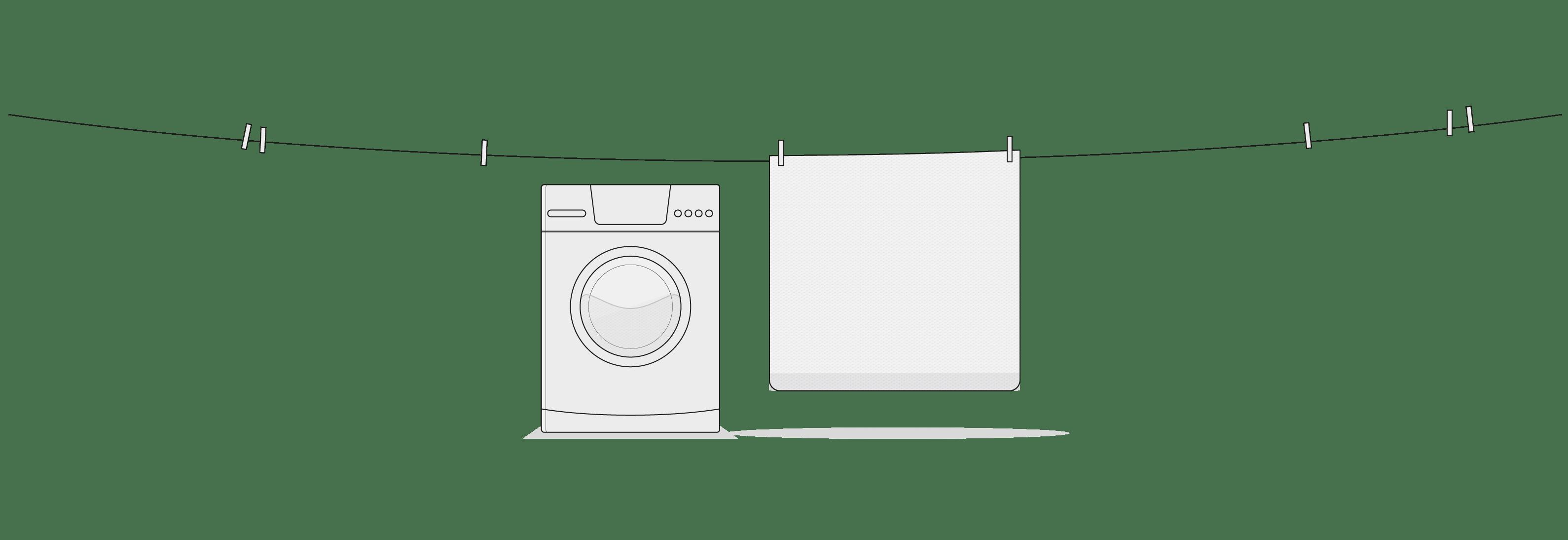 Illustration: Un fil à linge comportant plusieurs pinces à linge, auquel est suspendue la housse fonctionnelle HyBreeze. Un lave-linge se trouve dessous.