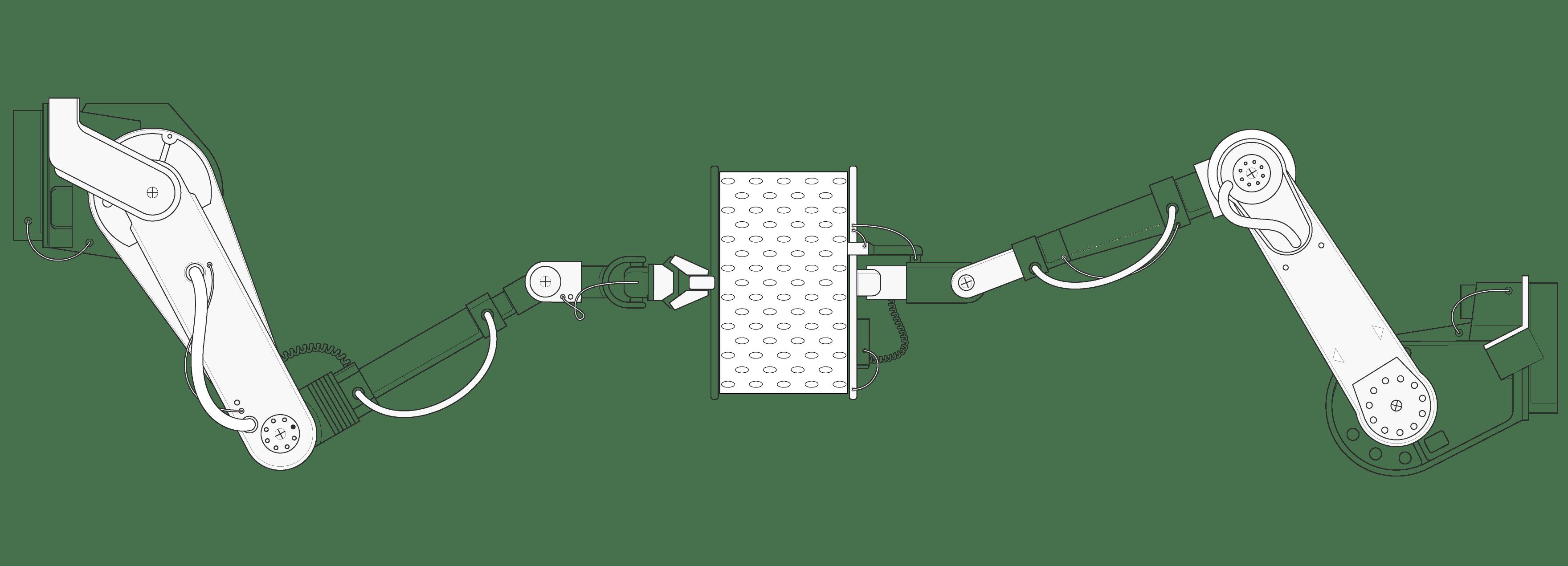 Illustration: Un morceau de housse HyBreeze placé entre deux énormes bras de robot hydrauliques qui l'étirent sur les côtés.