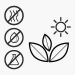 Les symboles indiquent: naturel, propre, certifié sans polluants, sans odeur