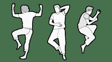 Illustration : Trois personnes sont allongées côté à côte. La première est couchée sur le ventre, la deuxième sur le dos, la troisième sur le côté.