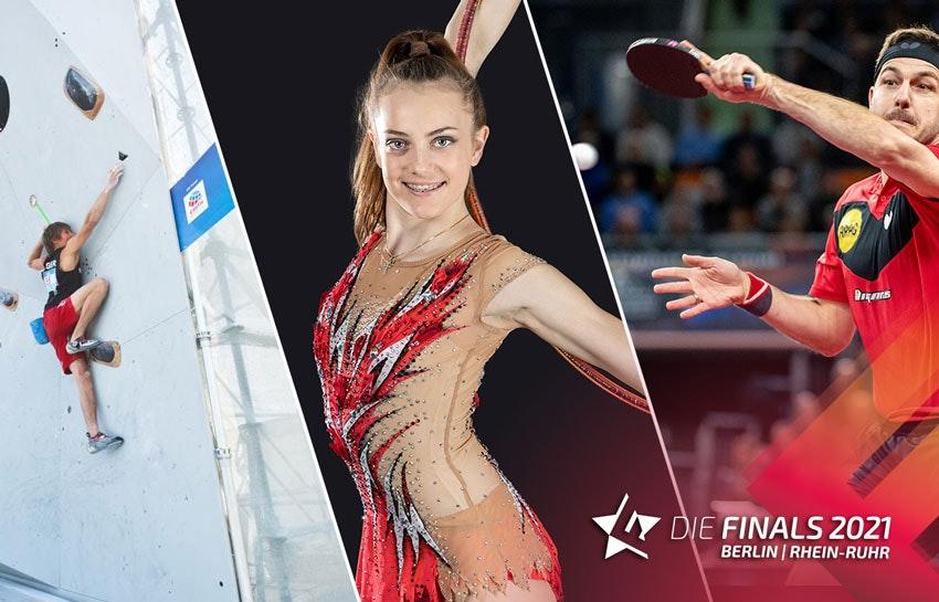 Collage photo : à gauche un homme sur un mur d'escalade, au centre une femme en tenue de gymnastique rythmique, à droite une joueuse de tennis de table.
