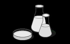 Illustration : Deux flacons en verre et une boîte de Pétri symbolisent l'essai de pollution, à côté d'eux le résultat de l'essai « très bon » .