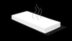 Illustration : un matelas sur lequel trois lignes courbes symbolisent l'odeur.