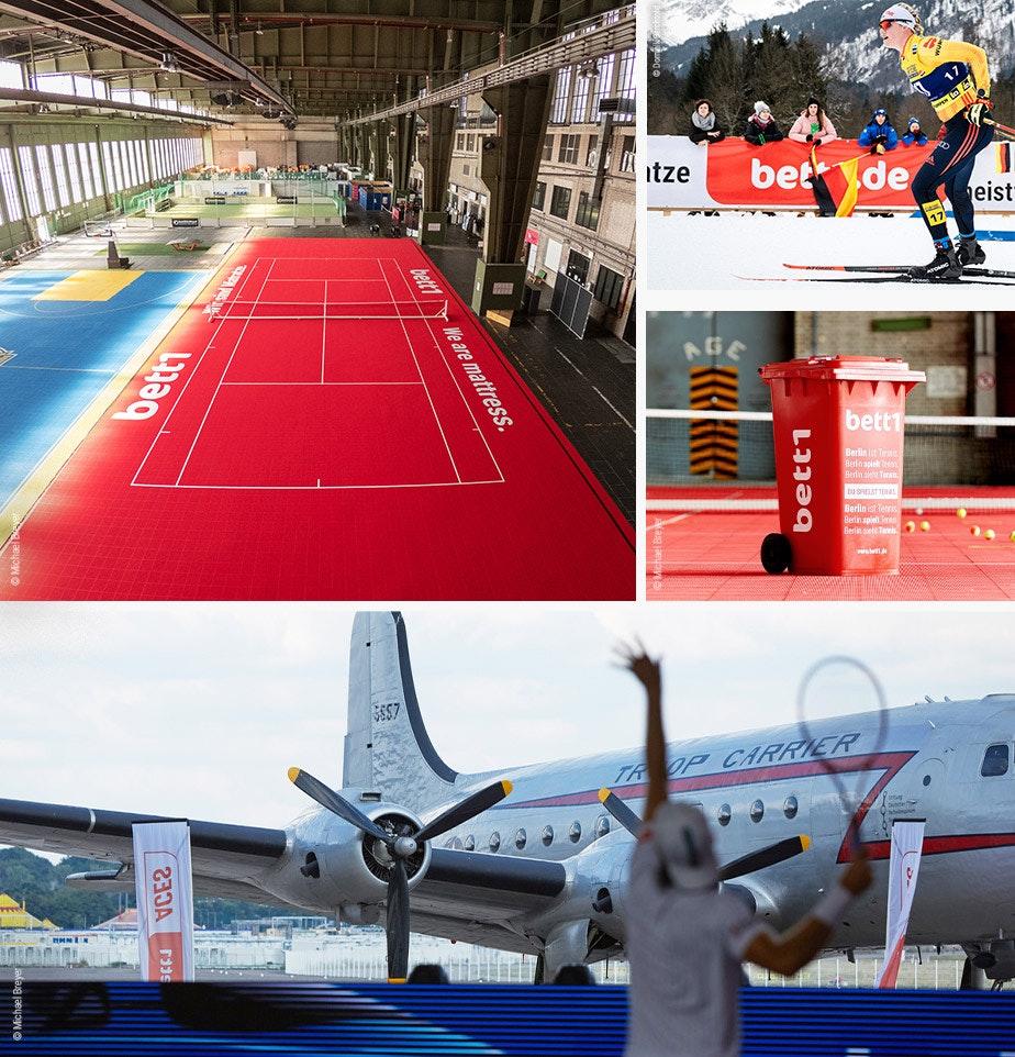 Collage photo : On peut voir les différents joueurs de tennis participants, les dates des deux tournois et les logos de bett1HULKS et de l'ATP.