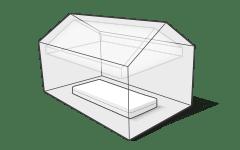 Illustration : Un matelas se trouve dans une maison. L'air est exempt de pollution.
