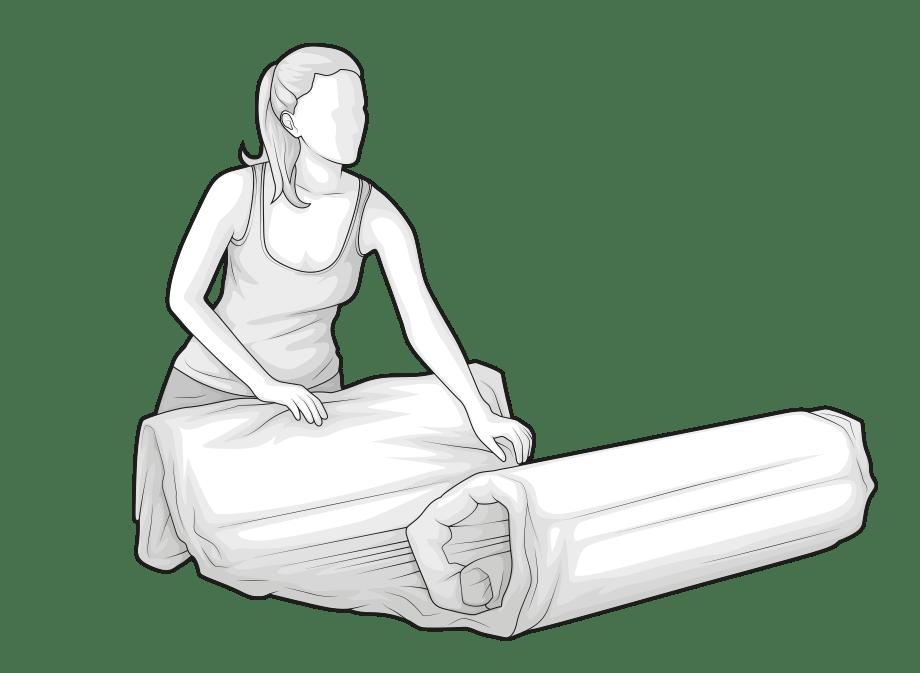 Illustration : Une femme déroule le matelas BODYGUARD comprimé.
