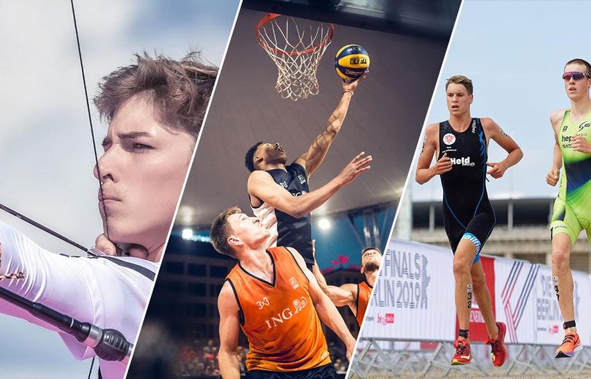 Collage photo : à gauche un archer, au milieu trois basketteurs, à droite deux coureurs.
