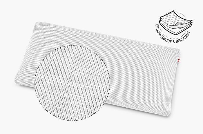 L'oreiller orthopédique BODYGUARD Plus avec vue agrandie sur la texture de la housse HyBreeze. Texte à côté : ergonomique et innovant.